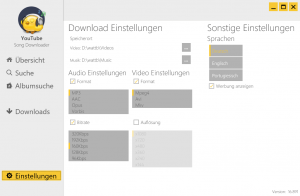 YouTube Song Downloader - Einstellungen